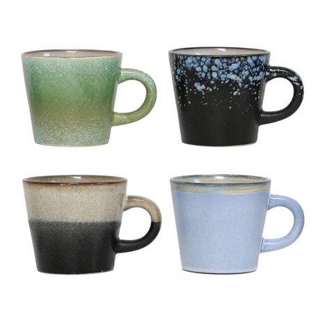 HK-living Cappuccino mokken keramiek 70's style, set van 4