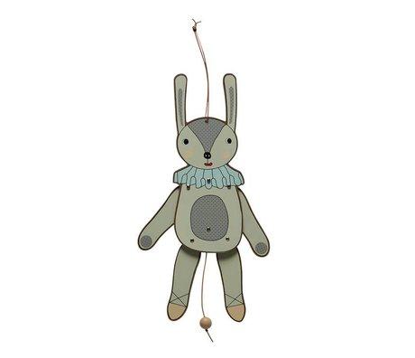 OYOY Trekpop juming jack mevrouw konijn multicolour MDF hout 37cm