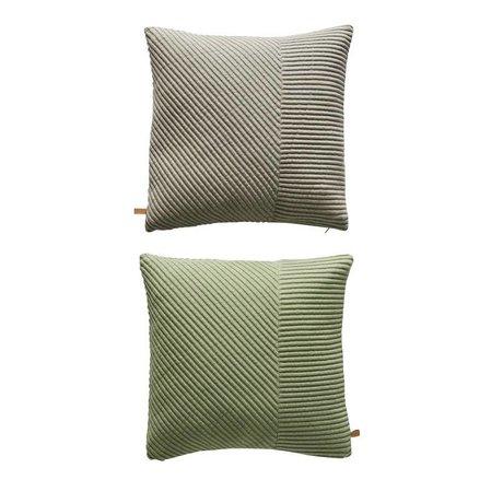 OYOY Sierkussen Ada tweezijdig grijs groen katoen 50x50cm