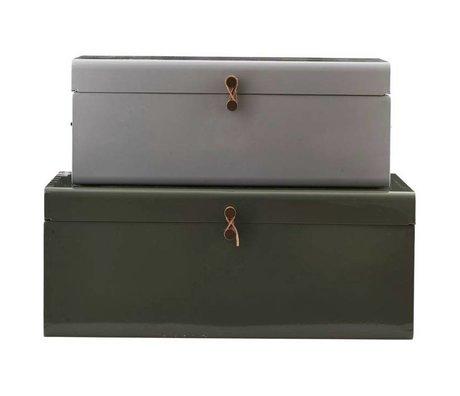 Housedoctor Opbergerkist set van 2 groen grijs 52x26x20cm/60x36x24cm