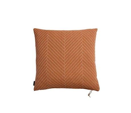 OYOY Sierkussen Fluffy Herringbone caramel bruin katoen 50x50cm