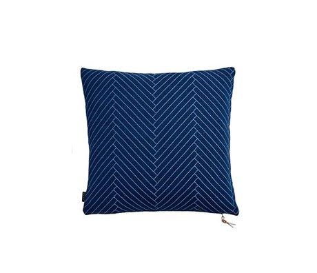 OYOY Sierkussen Fluffy Herringbone blauw katoen 50x50cm