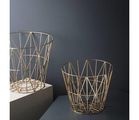 Ferm Living Mand brass goud ijzer 3 maten 40x35cm,50x40cm,60x45cm Wire Basket