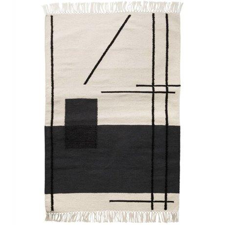 Ferm Living Vloerkleed Trace mat creme wit textiel 60x100cm