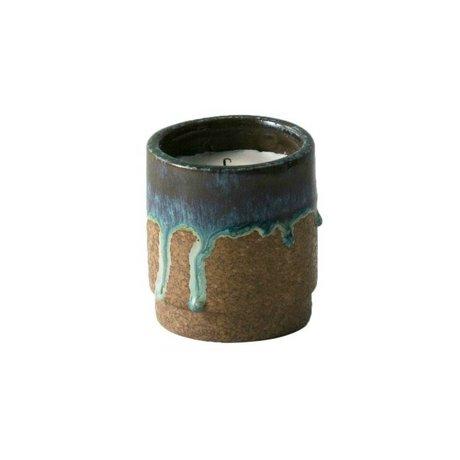 Ferm Living Geurkaars Running blauw keramiek soya wax ø9x10cm