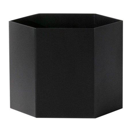 Ferm Living Pot Hexagon zwart Ø18x14cm Extra large