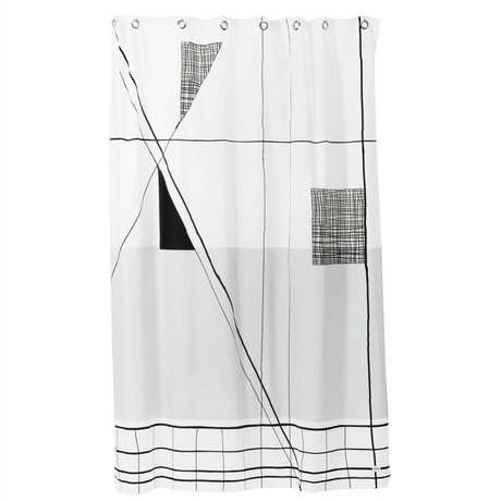 Ferm Living Douchegordijn Trace zwart wit textiel 160x205cm