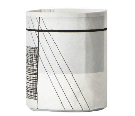 Ferm Living Wasmand Trace zwart wit textiel ø22x25cm