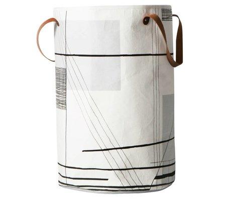Ferm Living Wasmand Trace zwart wit textiel ø40x60cm