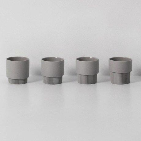 Ferm Living Espressomokjes Groove grijs porselein ø5,5x5,5cm set van 4