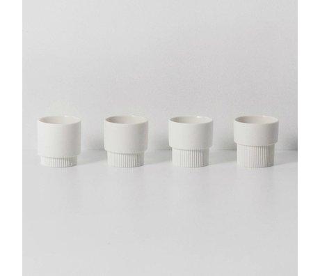 Ferm Living Espressomokjes Groove wit porselein ø5,5x5,5cm set van 4
