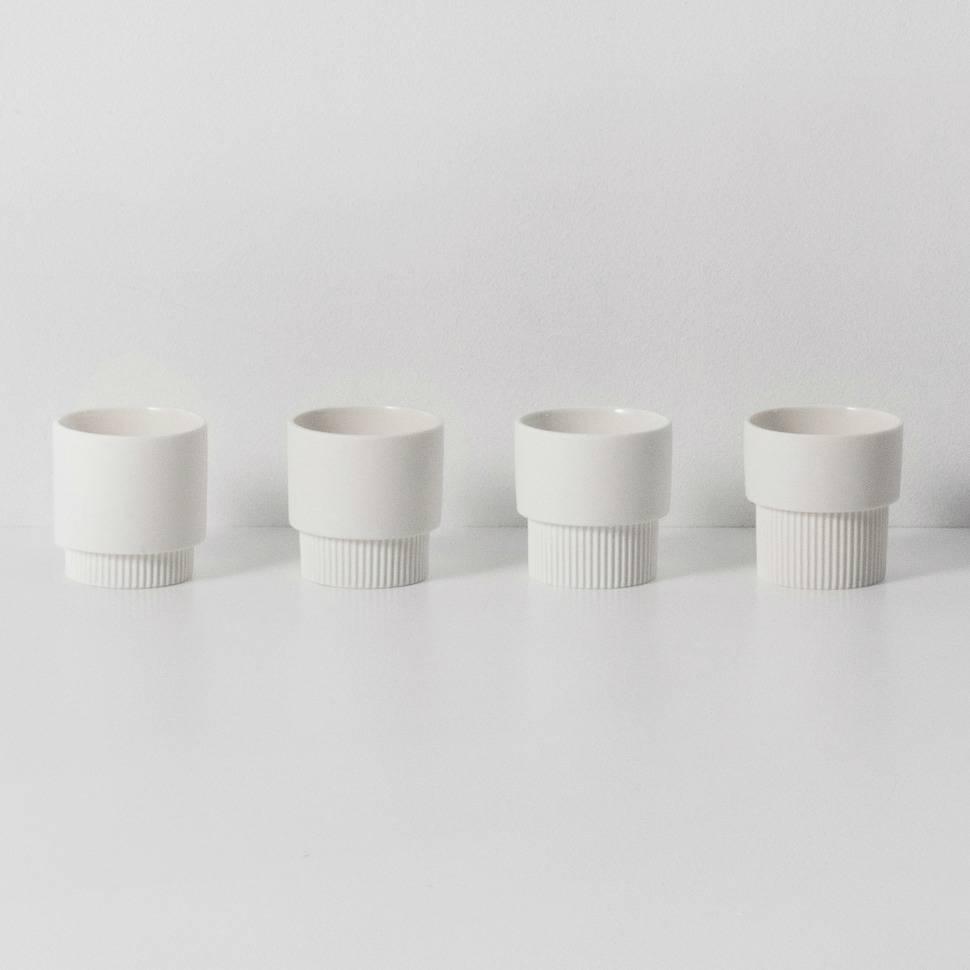 Ferm living espressomokjes groove wit porselein ø5,5x5,5cm set van ...