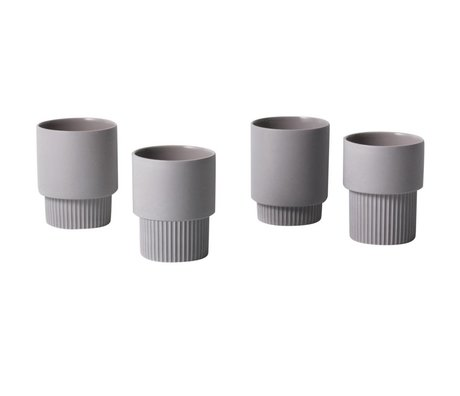 Ferm Living Espressomokjes Groove grijs porselein ø9x7cm set van 4