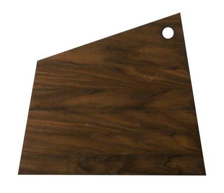 Ferm Living Snijplank Asymmetrisch bruin hout 38,5x33,5x1,5cm