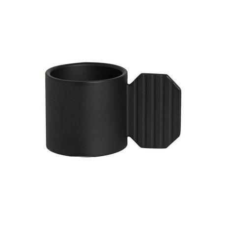 OYOY Kandelaar ART HEXAGON zwart metaal ⌀7,6x4,3cm