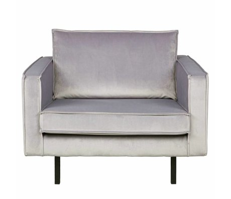 BePureHome Fauteuil Rodeo licht grijs fluweel velvet 105x86x85cm