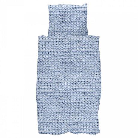 Snurk Beddengoed Dekbedovertrek Twirre blauw flanel katoen in 4 maten