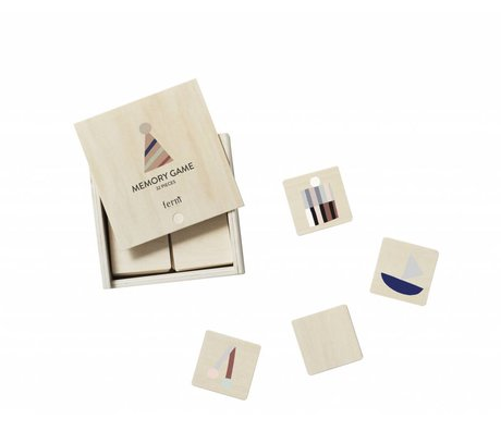 Ferm Living Party memory game multicolour hout 12x12x4cm