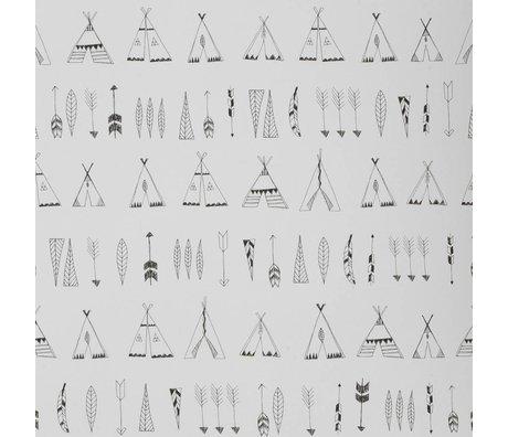 Ferm Living Behang Native zwart-wit papier 53x1000cm