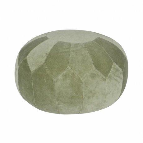 BePureHome Poef Boulder groen fluweel 51x51x36cm
