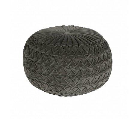 BePureHome Poef Knitwork grijs fluweel 51x51x36cm