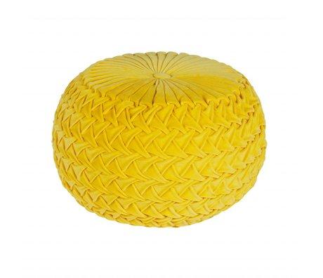 BePureHome Poef Knitwork oker geel fluweel 51x51x36cm