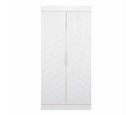 LEF collections Kast Connect 2 deurs vissengraat wit grenen 195x94x53cm