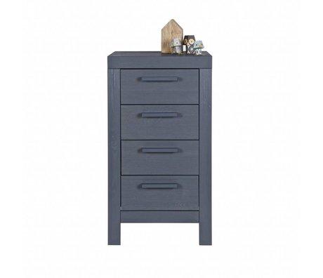 LEF collections Ladekast Dennis staal grijs grenen hout 85x45x39cm