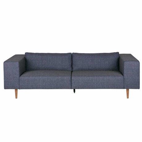 LEF collections Bank Bjork 3-zits denim blauw textiel hout 76x234x100cm