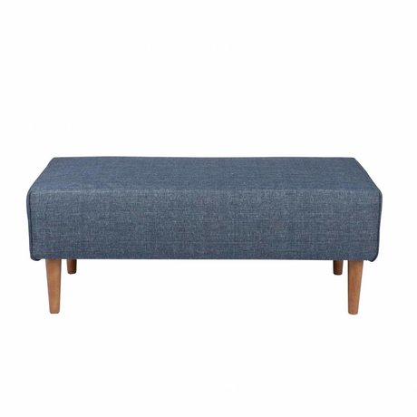 LEF collections Hocker Bjork denim blauw textiel hout 44x117x62cm