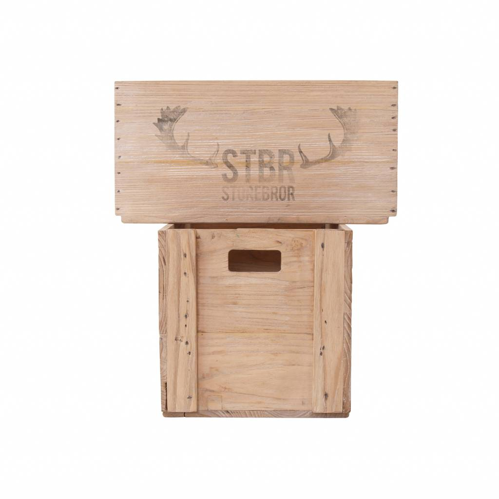 Storebror Opberger Wooden Crates hout bruin set van 2
