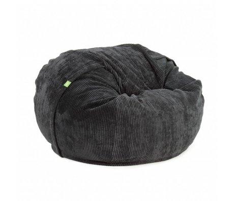 Vetsak Zitzak Cord velours eenpersoons zwart polyester ø110x70cm 600liter