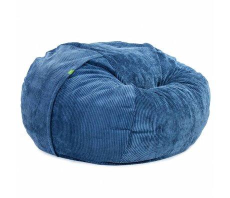 Vetsak Zitzak Cord velours tweepersoons blauw polyester ø140x90cm 1000liter