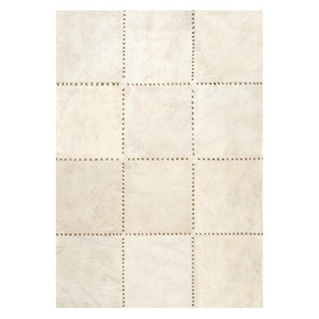 LEF collections Vloerkleed Canvas beige bruin canvas leer in 3 maten