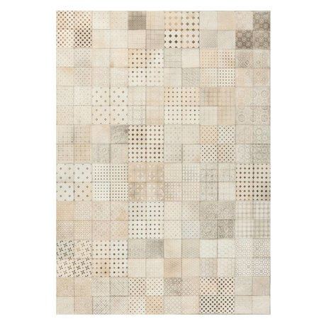 LEF collections Vloerkleed Olympus beige bruin leer in 3 maten
