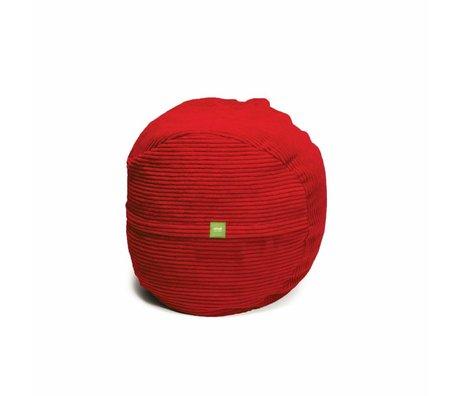 Vetsak Voetenbank Cord velours rood polyester ø60x45 60liter