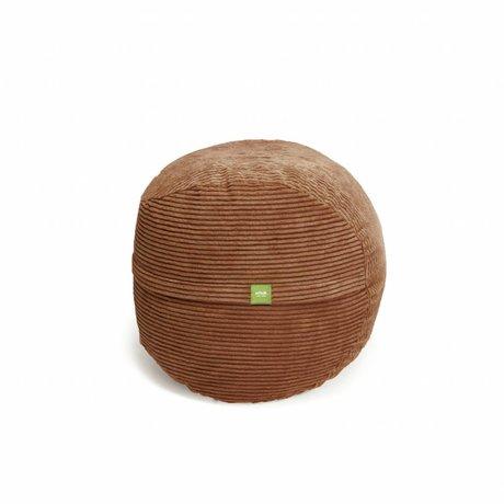 Vetsak Voetenbank Cord velours bruin polyester ø60x45 60liter