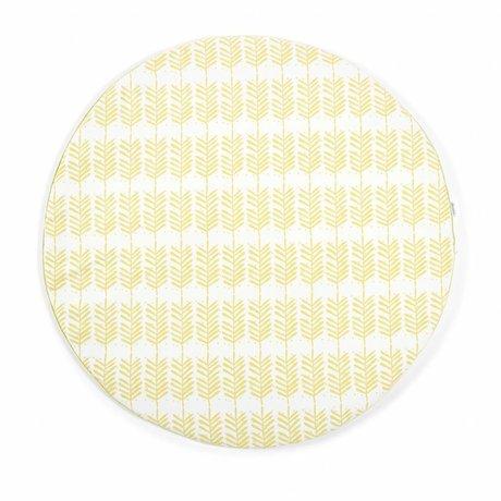 Roomblush Speelmat Feathers geel grijs katoen ⌀100cm