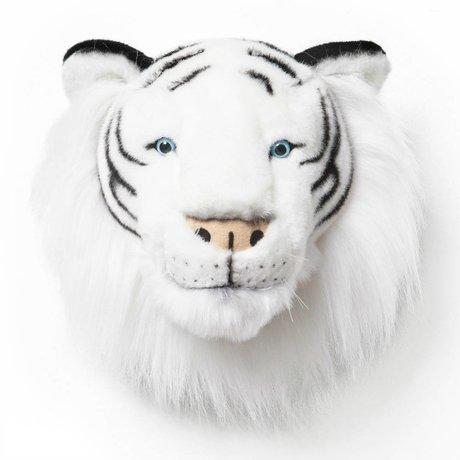 Wild and Soft Dierenkop tijger Albert zwart wit textiel 25x30x30cm