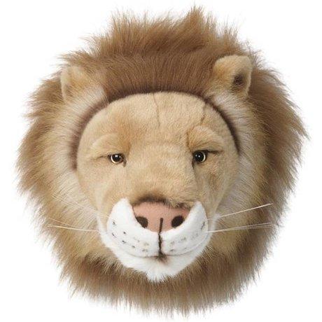 Wild and Soft Dierenkop leeuw Cesar bruin textiel klein 27x21x22cm