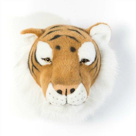 Wild and Soft Dierenkop tijger Felix bruin textiel 27x22x23cm