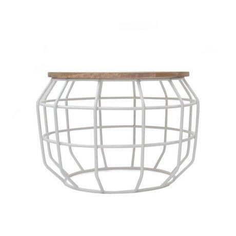 LEF collections Salontafel Pixel wit metaal hout 56x56x38cm