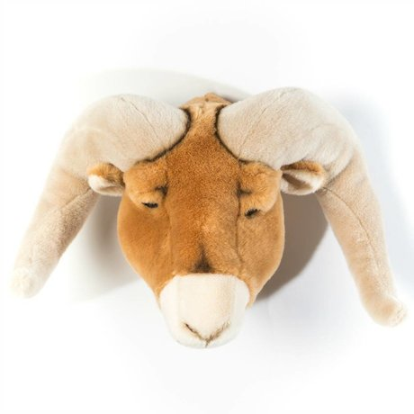 Wild and Soft Dierenkop ram Anthony bruin textiel 37x45x30cm