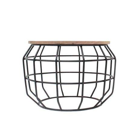LEF collections Salontafel Pixel zwart metaal hout 56x56x38cm