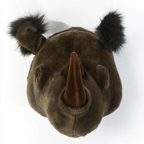 Wild and Soft Dierenkop neushoorn Michael zwart textiel 35x34x30cm