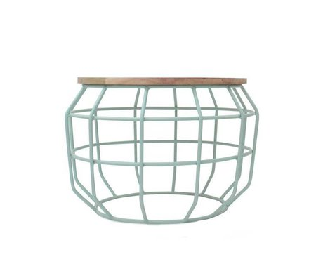 LEF collections Salontafel Pixel mint groen metaal hout 56x56x38cm