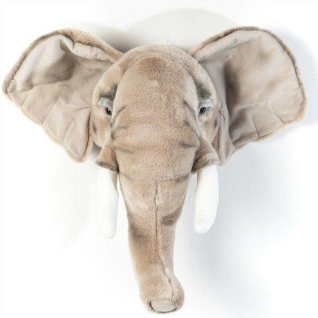 Wild and Soft Dierenkop olifant George grijs textiel 44x59x25cm