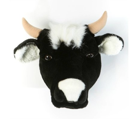 Wild and Soft Dierenkop koe Daisy zwart textiel 33x40x30cm
