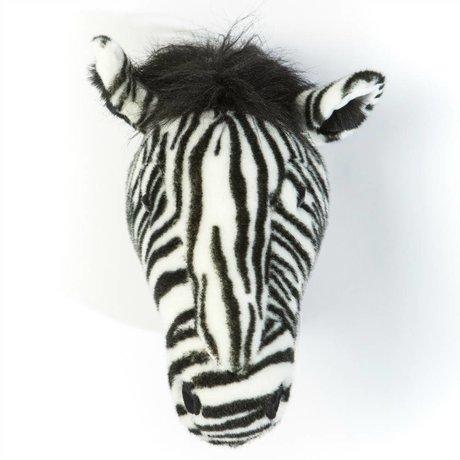 Wild and Soft Dierenkop zebra Daniël zwart wit textiel 34x19x30cm
