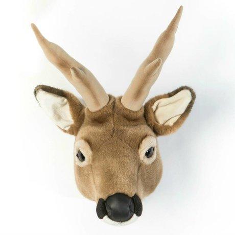 Wild and Soft Dierenkop ree Toby bruin textiel 32x23x46cm